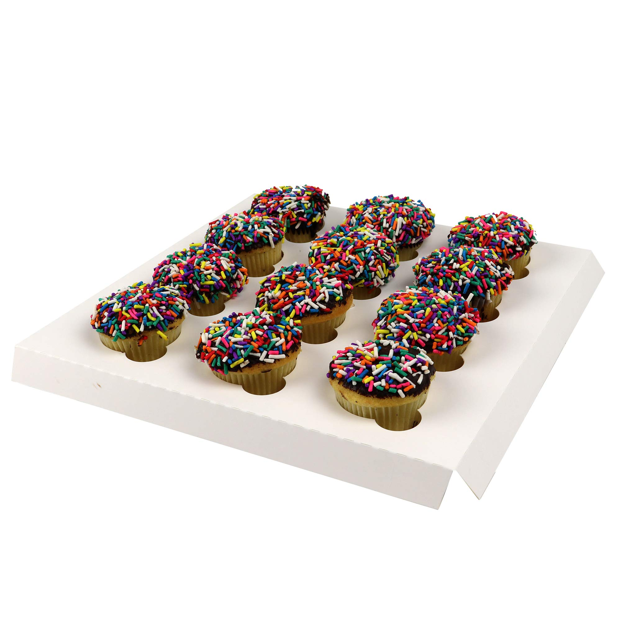O'Creme Insert Only with White Top and Bottom for Holding 12 Mini Cupcakes in a 10 Inch x 10 Inch Cake Box - Pack of 200