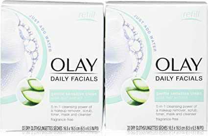 Olay Sensitive 4-In-1 Daily Facial Cloths, 33 Count (Pack Of 2) by ...