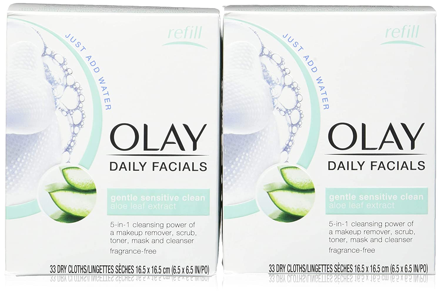 Olay Daily Facials Gentle Clean 5-in-1 Water Activated Cloths with Vitamin E for Younger Looking Skin, 33 Ea (Pack of 2): Beauty
