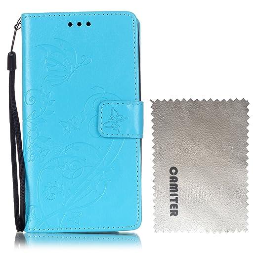 17 opinioni per Huawei Honor 5X Cover,Camiter Azzurro Goffratura disegno della farfalla Cuoio