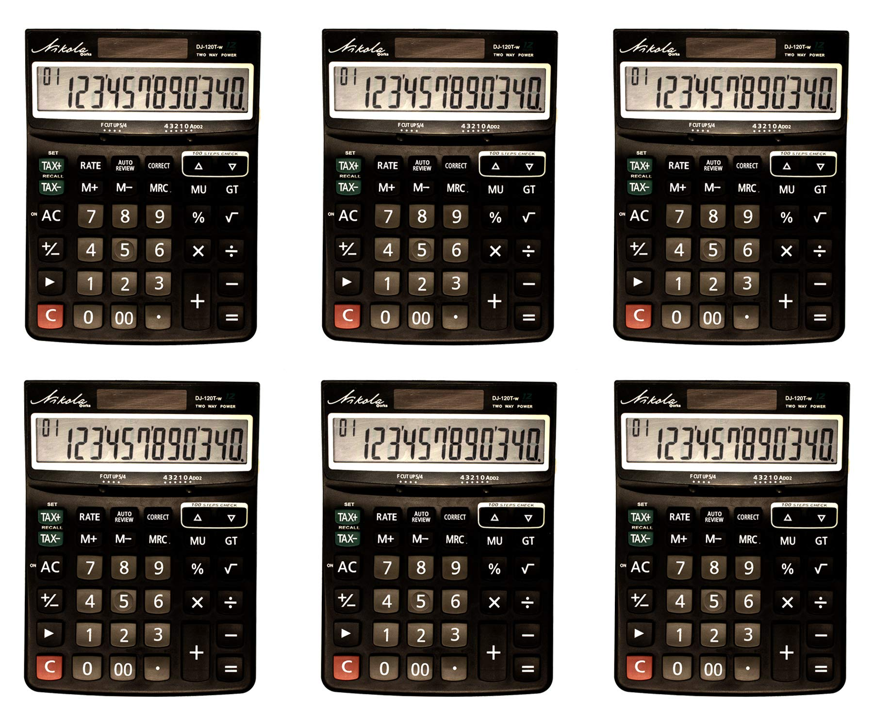 12 Digit Large Dual Powered Multi Function Business Tax and Basic Calculator Set Bulk Value 6-Pack