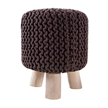 Design Stoolknitted Cotton With Wooden Legs 17 5 Coffee