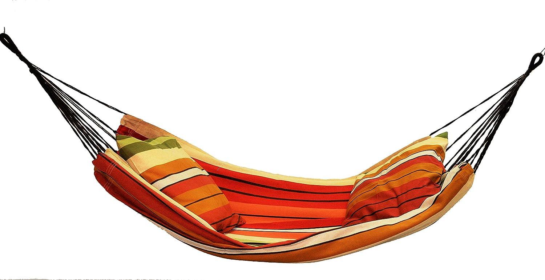 Hängematte für Kinder - Baumwollgewebe - Doppelseil - maximal 80 kg - Orange und Beige