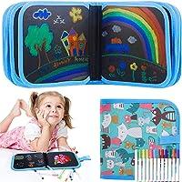 Afwisbaar kleurboek voor kinderen, graffiti tekenbord - Doodle Pad met 12 kleurstiften - wisbaar kleurboek met 14 pagina…