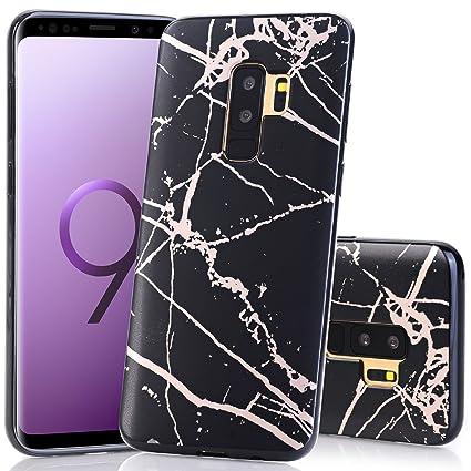 fd6336853c Galaxy S9 Plus Case, Shiny Rose Gold Black Marble Design BAISRKE Slim  Flexible Soft Silicone