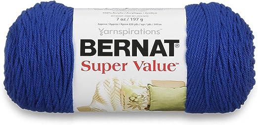 Gauge 4 Medium Worsted 7 oz Bernat Super Value Yarn Royal Blue