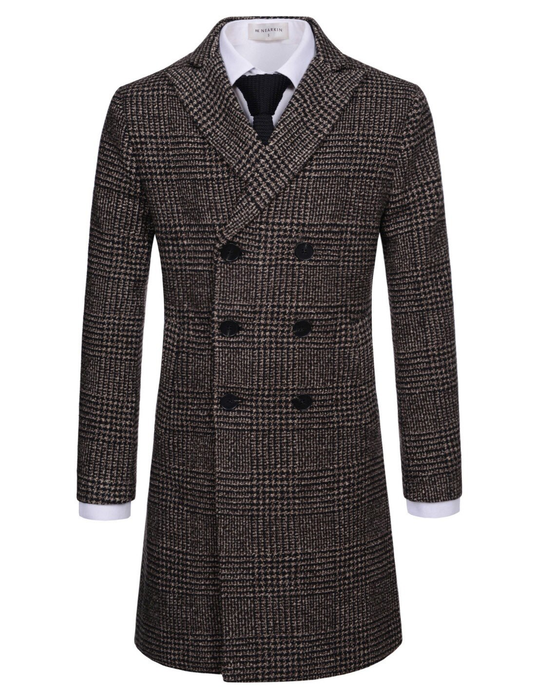 NEARKIN (NKNKDC7052) Mens Checker Double Breasted Peak Lapel Wool Blend Long Coat BROWNBLACK US L(Tag size L) by NEARKIN