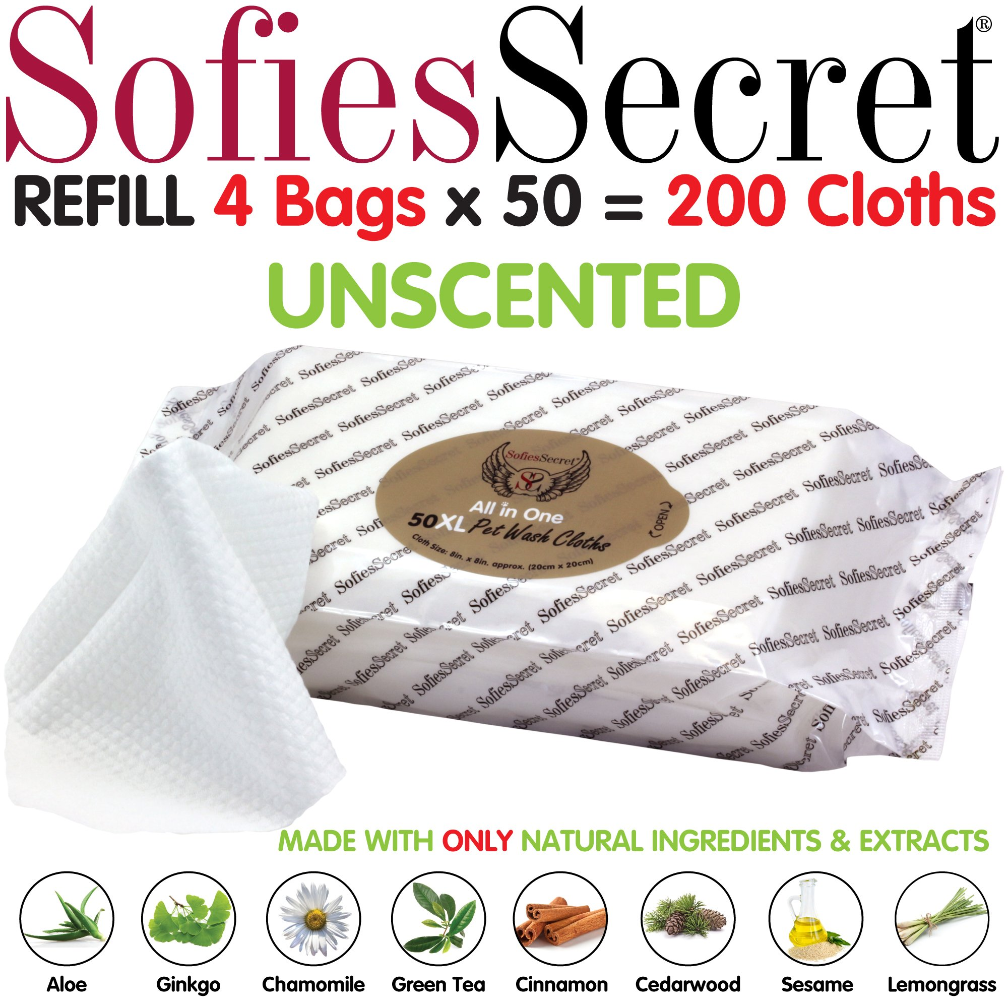 SofiesSecret XL PET Wipes, 200 Seets Refill, All in One Grooming, for Paws, Coat, Skin, Face, Ears and Teeth, Made with only Naturally derived Ingredients, Oils & Extra, Cruelty Free and Vegan by SofiesSecret