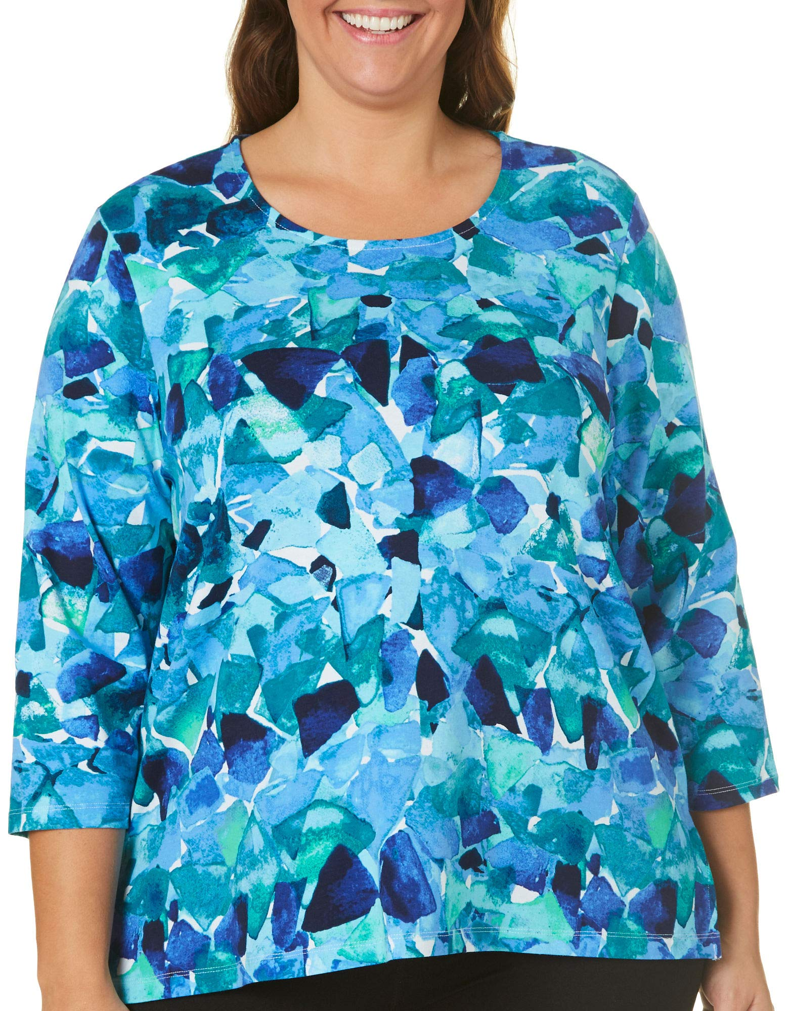 Alfred Dunner Plus Abstract Broken Glass Top 1X Blue/White
