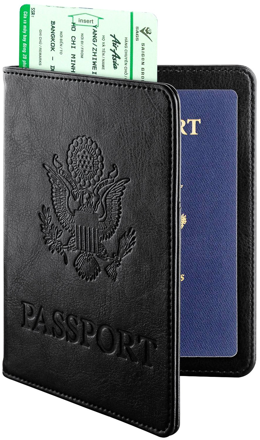 DTTO RFID Blocking Passport Cover, Multi-functional Premium Leather Passport Holder Travel Wallet Cover Case - Black
