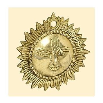 Amazon.com: Handmade Sun Wall Hanging Sculpture Indian Art Statue ...