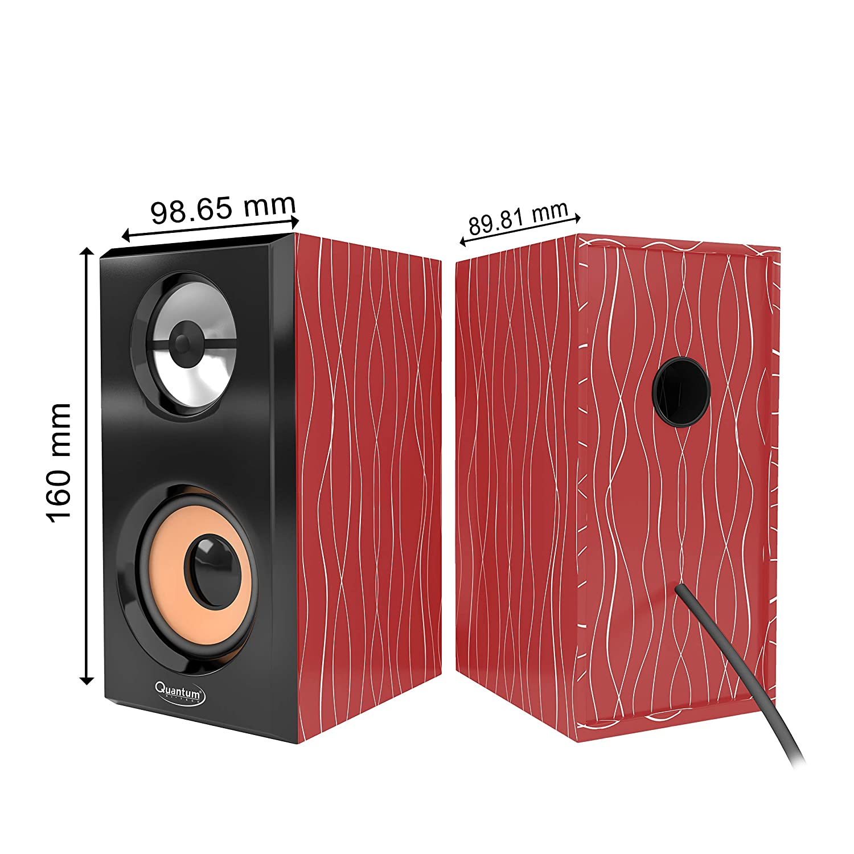 Quantum QHM630 Portable Laptop/Desktop USB Powered Multimedia Wooden Speaker with AUX Input  Cherry  PC Speakers