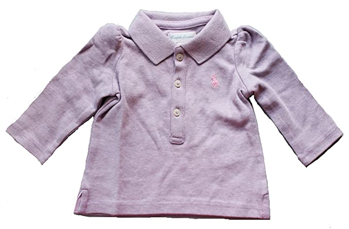 382f8d09 Image Unavailable. Image not available for. Color: Ralph Lauren Baby Girl  Interlock Long Sleeve Polo Shirt ...