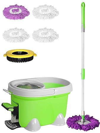 Enya Easy Mop 2 in1 Spin Mop 360 ° Spinning drehbar Magic Spin Bodenwischer & Eimer Set + 4 Mikrofaser-Reinigungstuch Köpfe N