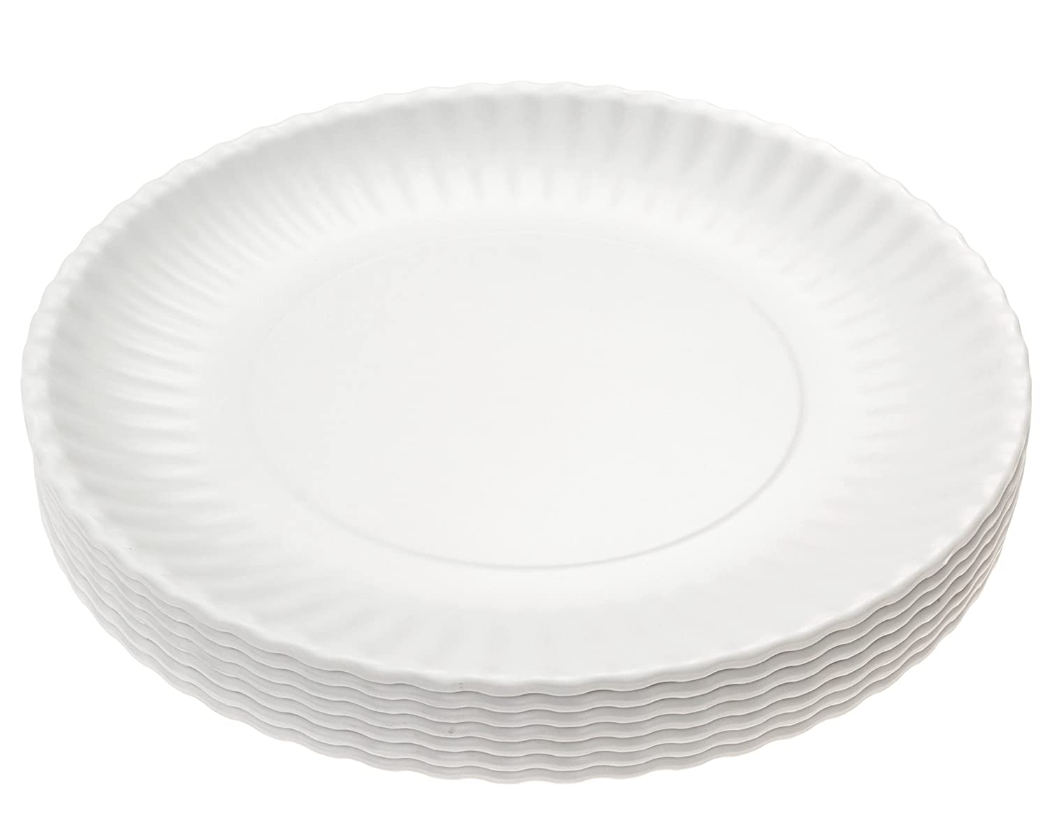 "Picnique Reusable Paper Plate - 9"" Picnic & Dinner Melamine Plates, Dishwasher Safe, BPA Free - Set of 6 Plates"