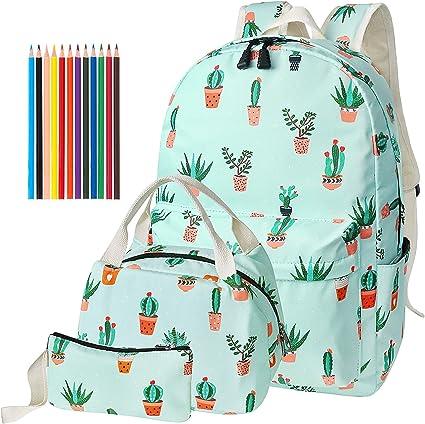QFYZYZ - Juego de mochilas escolares para adolescentes con bolsa para el almuerzo y estuche para portátil de 14