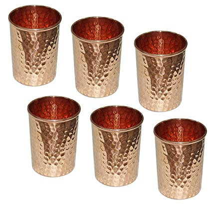 SKAVIJ Pure Copper Hammered Water Drinking Glasses Set of 6, Indian Drinkware Accessory, Capacity 250 Ml