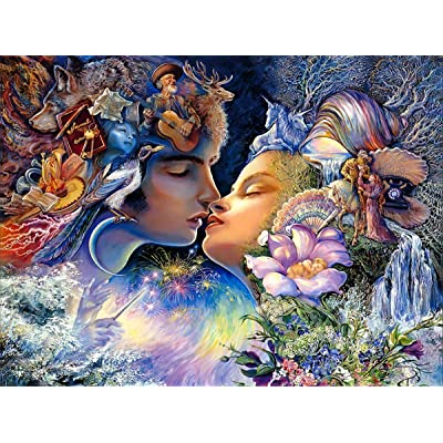 1000 Pieces Puzzles Thicken Cardboard Jigsaw Puzzles Floor Puzzle for Adults Kids Teen - Magic Kiss: Toys & Games