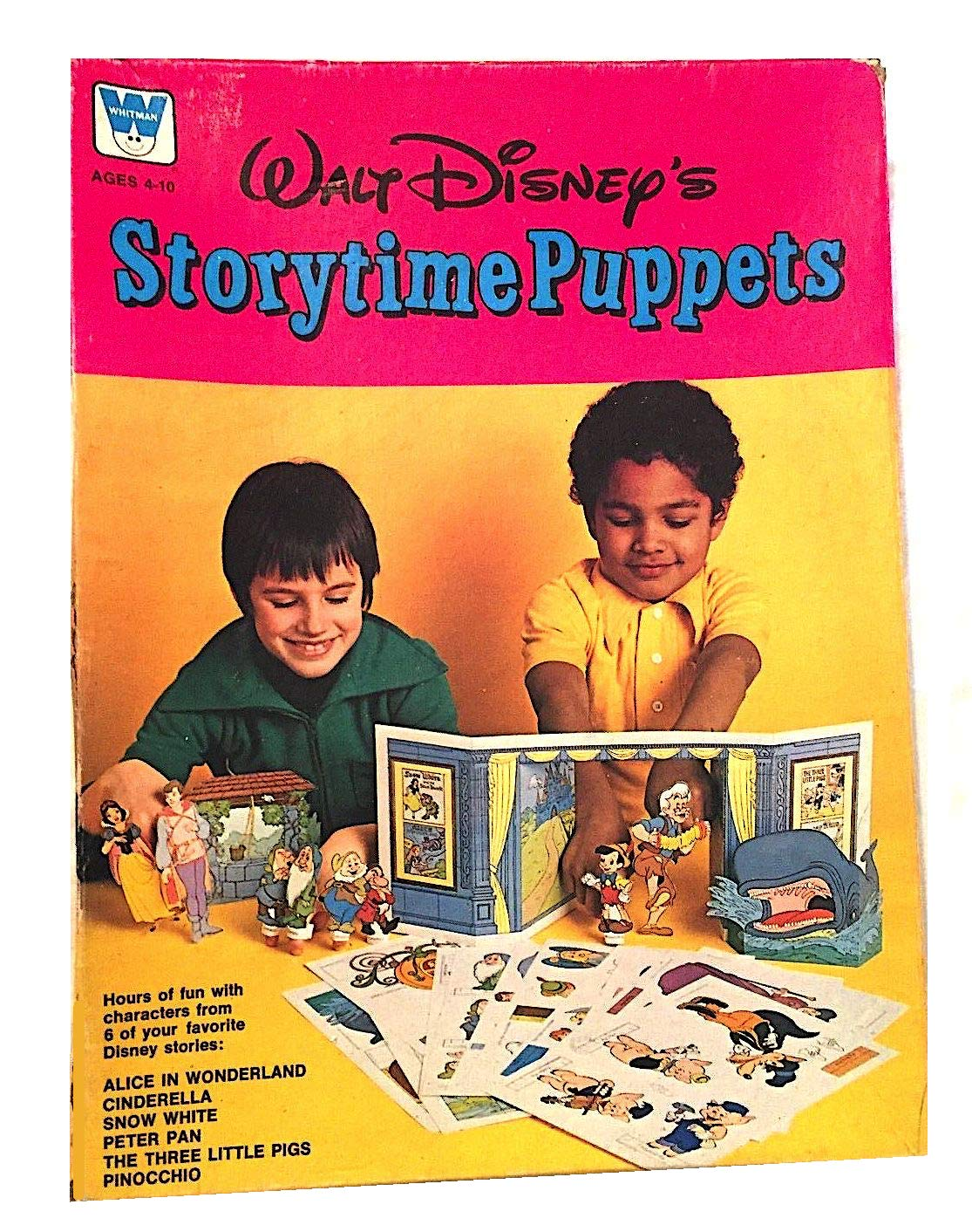 Vintage Walt Disney Storytime Paper Puppets with Stage Props by Whitman (Image #1)