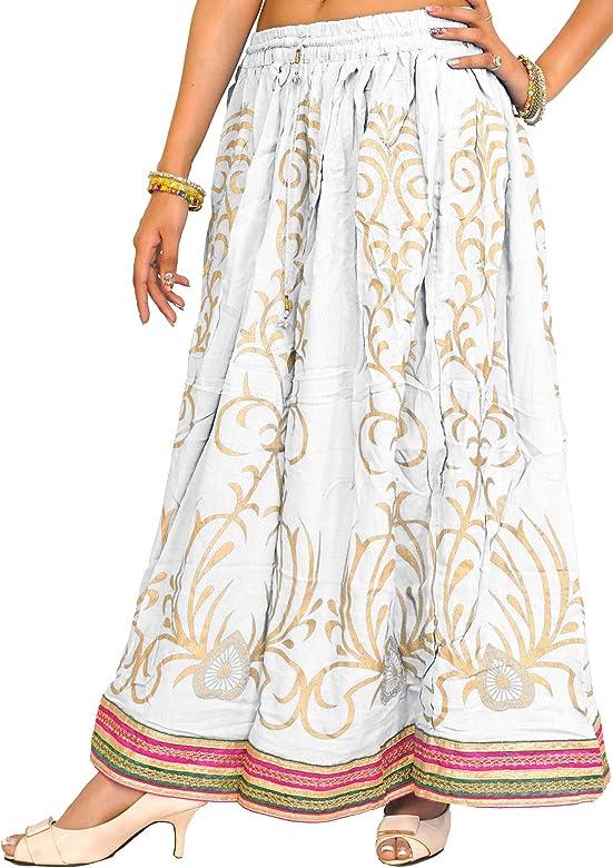Exotic India Falda Larga Estampada con Borde de Parche Adornado ...