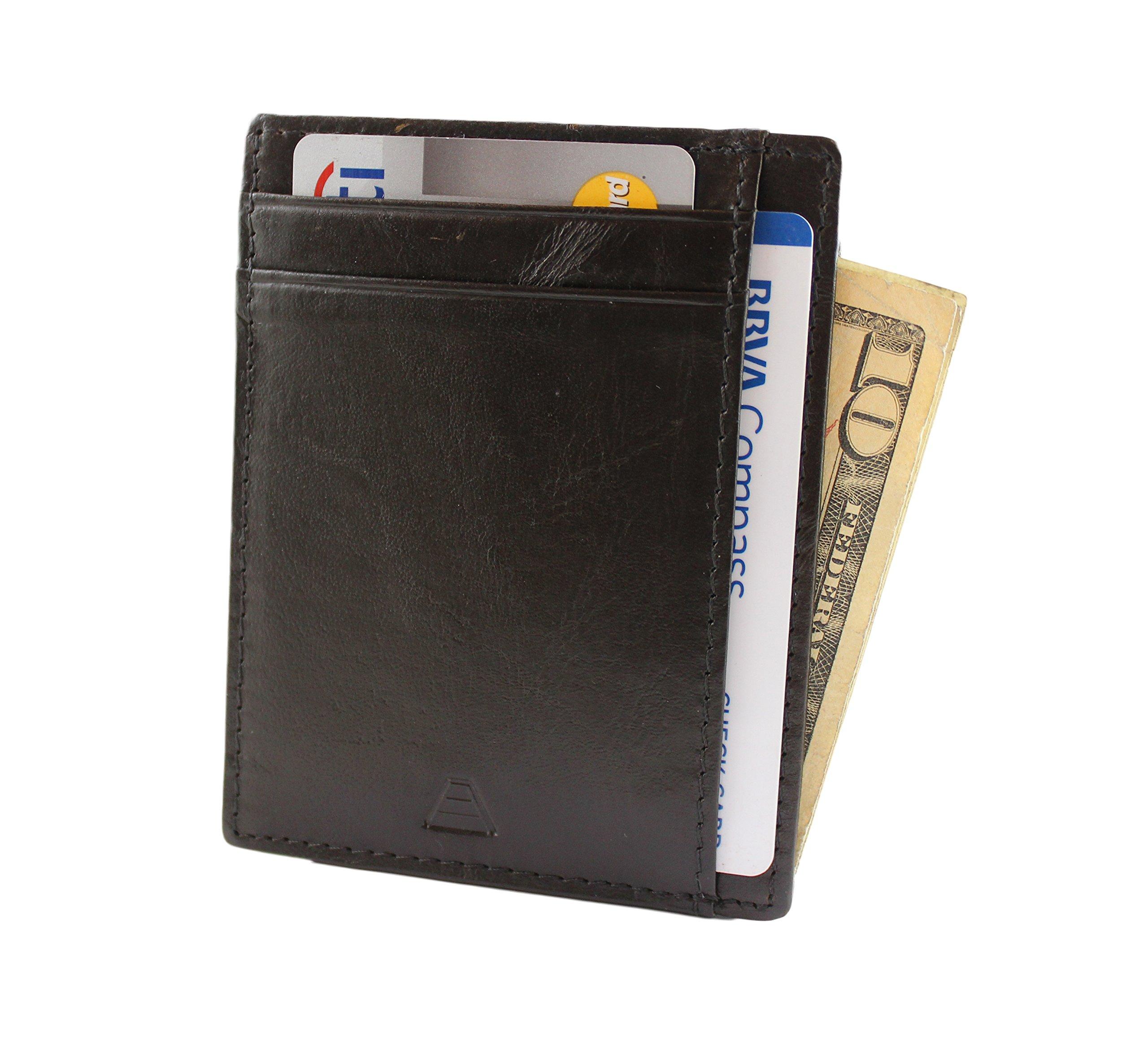 Andar RFID Minimalist Front Pocket Wallet - Made of Classy Full Grain Leather (Black)
