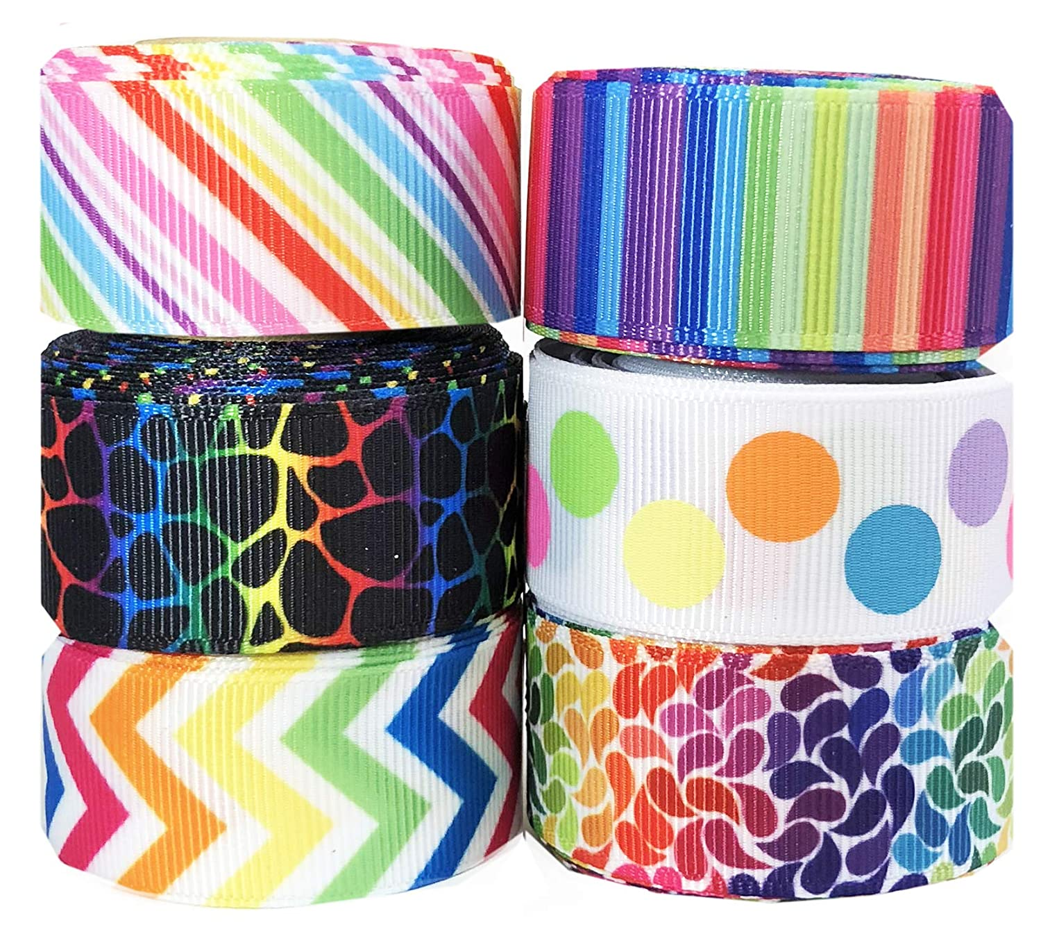 Rainbow Ribbon for Crafts - Hipgirl 30yd 7/8 Grosgrain Ribbon Set For Gift Package Wrapping, Hair Bow Clips & Accessories Making, Crafting, Sewing, Wedding Decor, (30yd (6x5yd) 7/8 Ribbon-Rainbow) 4336858433