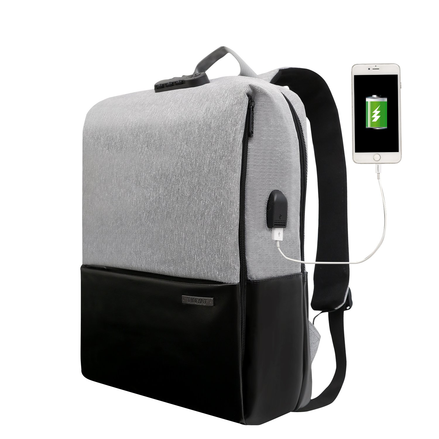 Travel Anti Theft Laptop Backpack for Women & Men, Water Resistant College School Bookbag, Slim Business Backpack w/USB Charging Port, Fits 17 inch Laptop .(Grey)