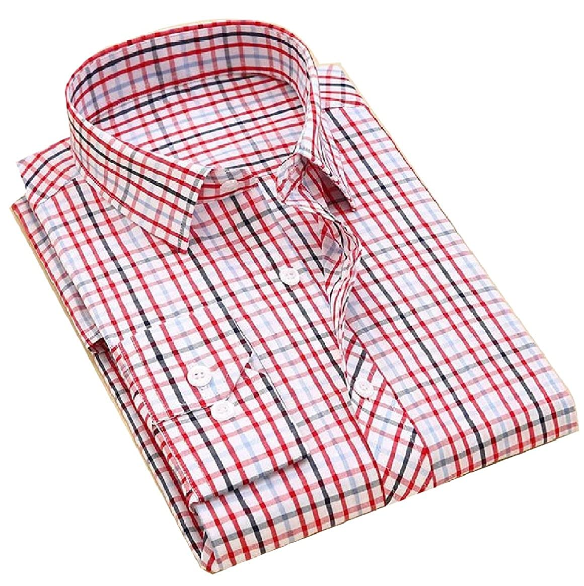 YUNY Men Cotton Classic Plaid Button Down Long-Sleeve Casual Shirt 3 XS