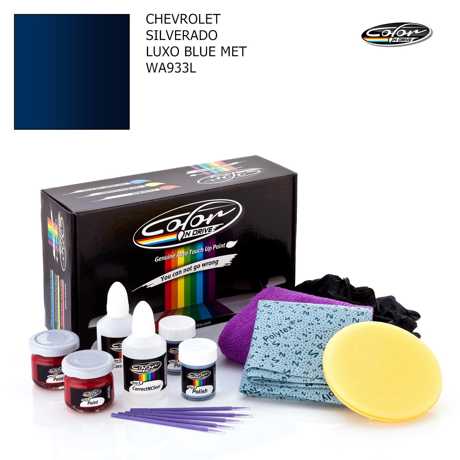CHEVROLET SILVERADO / LUXO BLUE MET - WA933L / COLOR N DRIVE TOUCH UP PAINT SYSTEM FOR PAINT CHIPS AND SCRATCHES / BASIC PACK