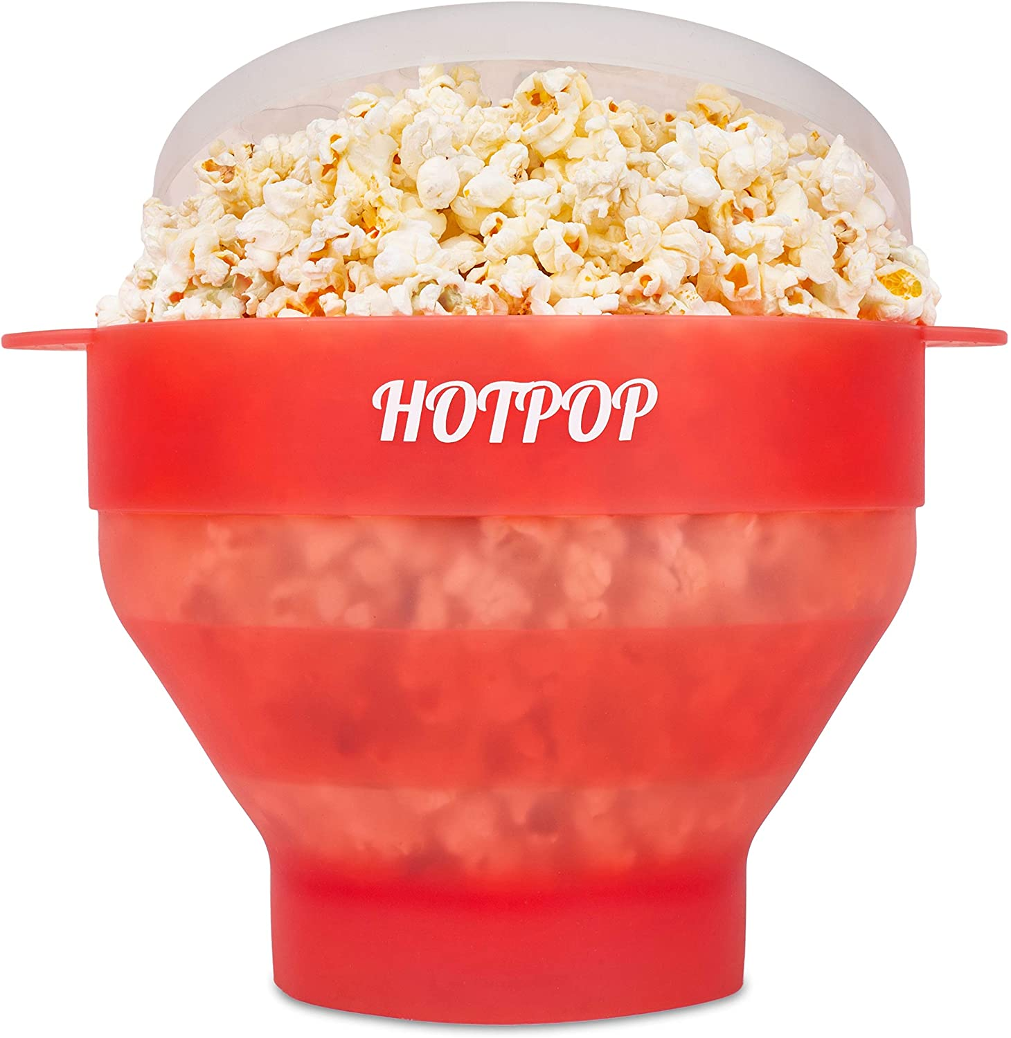 The Original Hotpop Microwave Popcorn Popper, Silicone Popcorn Maker, Collapsible Bowl Bpa Free and Dishwasher Safe - 17 Colors Available (Transparent Red)