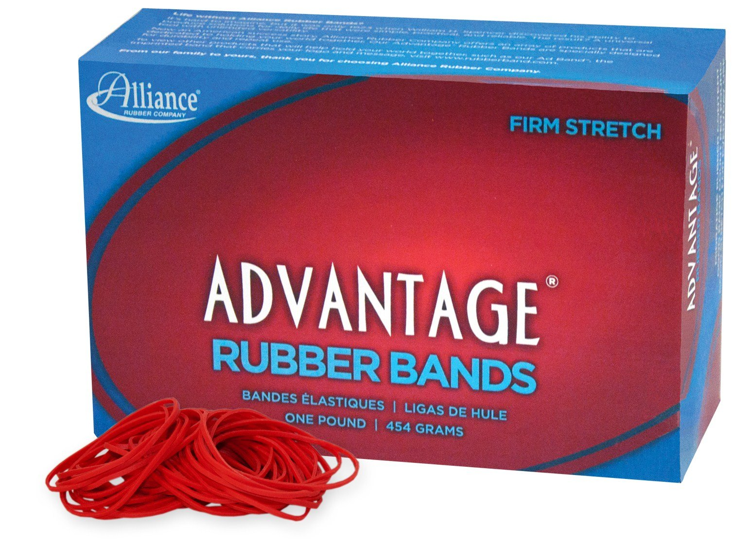 """Alliance Rubber 96195 Advantage Rubber Bands Size #19, 1 lb Box Contains Approx. 1250 Bands (3 1/2"""" x 1/16"""", Red)"""