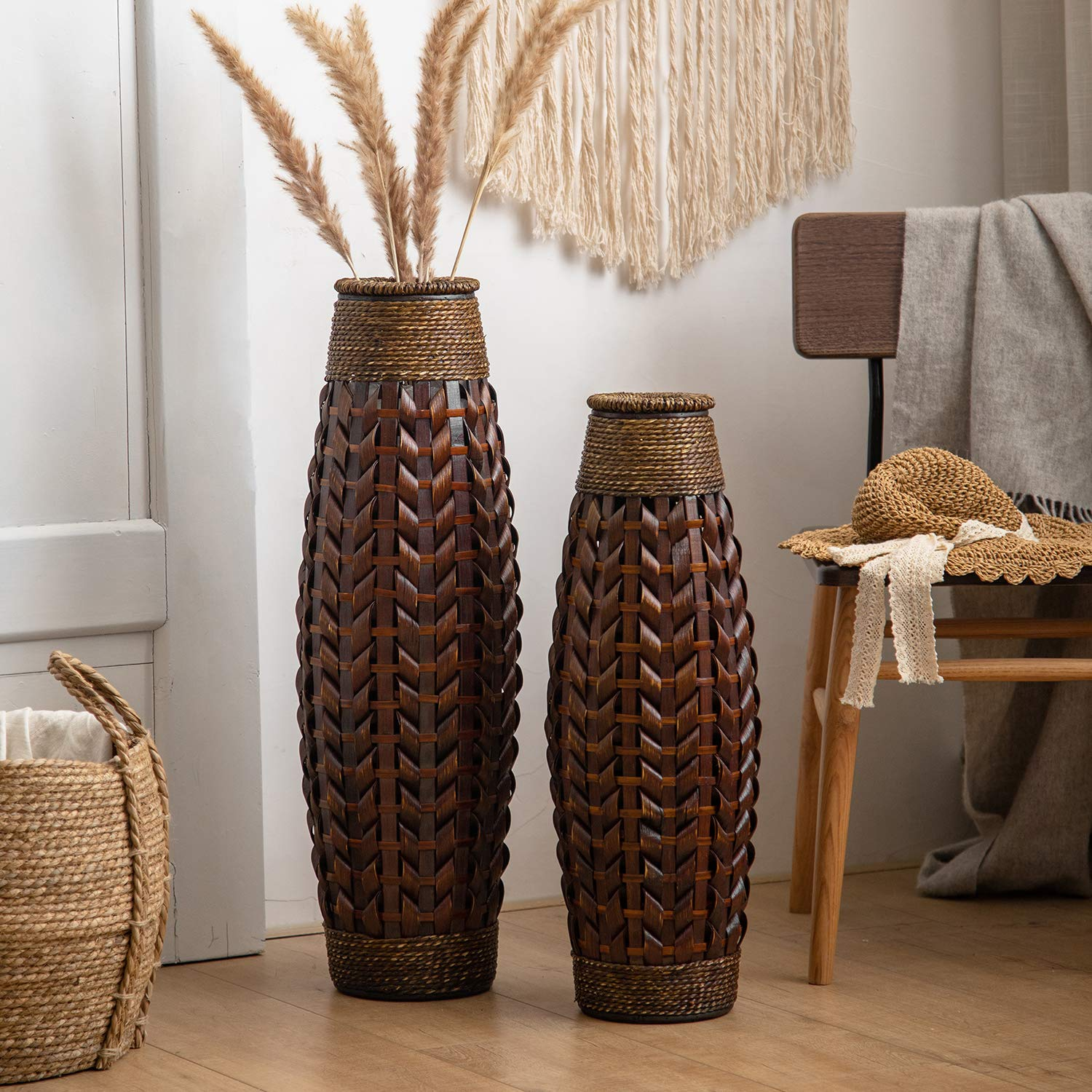 Buy Huidao Tall Floor Vase 28 High Bamboo And Grass Standing Vase Floor Vase For Home Office Living Room Decor Style 1 Large Online At Low Prices In India Amazon In