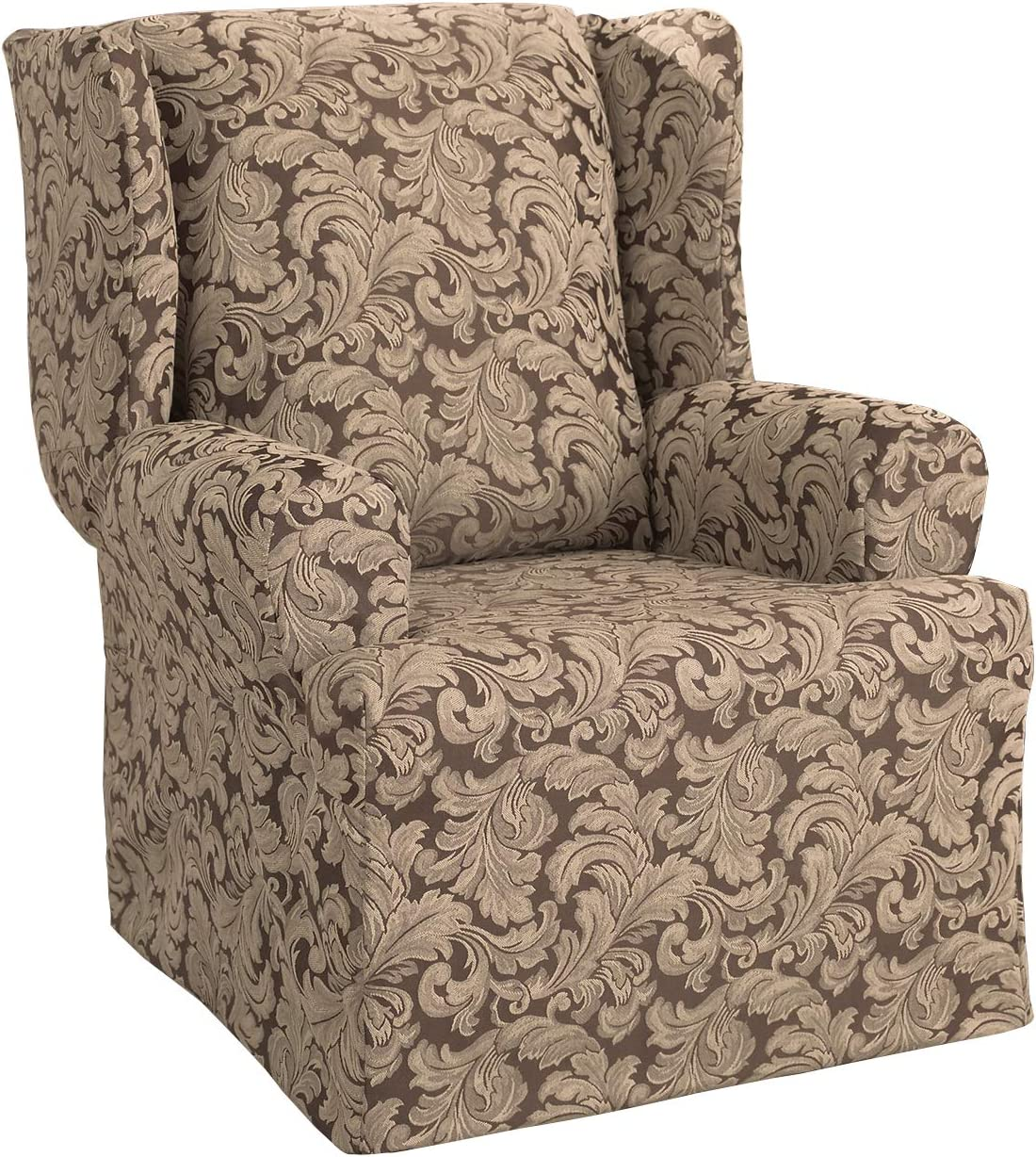 Surefit Scroll Damask Box Cushion Wing Chair One Piece Slipcover, Relaxed Fit, Cotton/Polyester, Machine Washable, Brown