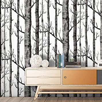 Peel And Stick Wallpaper Removable Birch Trees Wall Paper Decorative Self Adhesive Shelf Drawer Liner Roll 17 7 Inch By 9 8 Feet Amazon Com