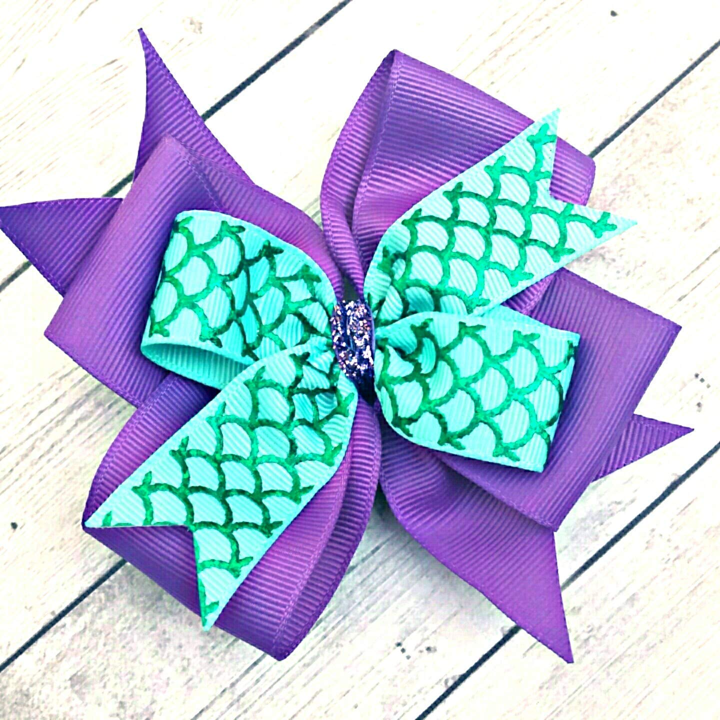 Large Pink Mermaid Bow Pink and Purple Mermaid Headband Pink and Teal Double Layer Mermaid Bow