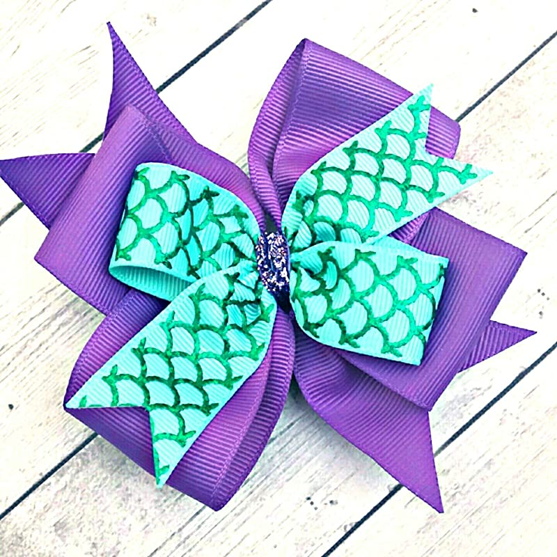 Pair mermaid shell fish blue//green Harajuku romany hair bows bobbles//clip