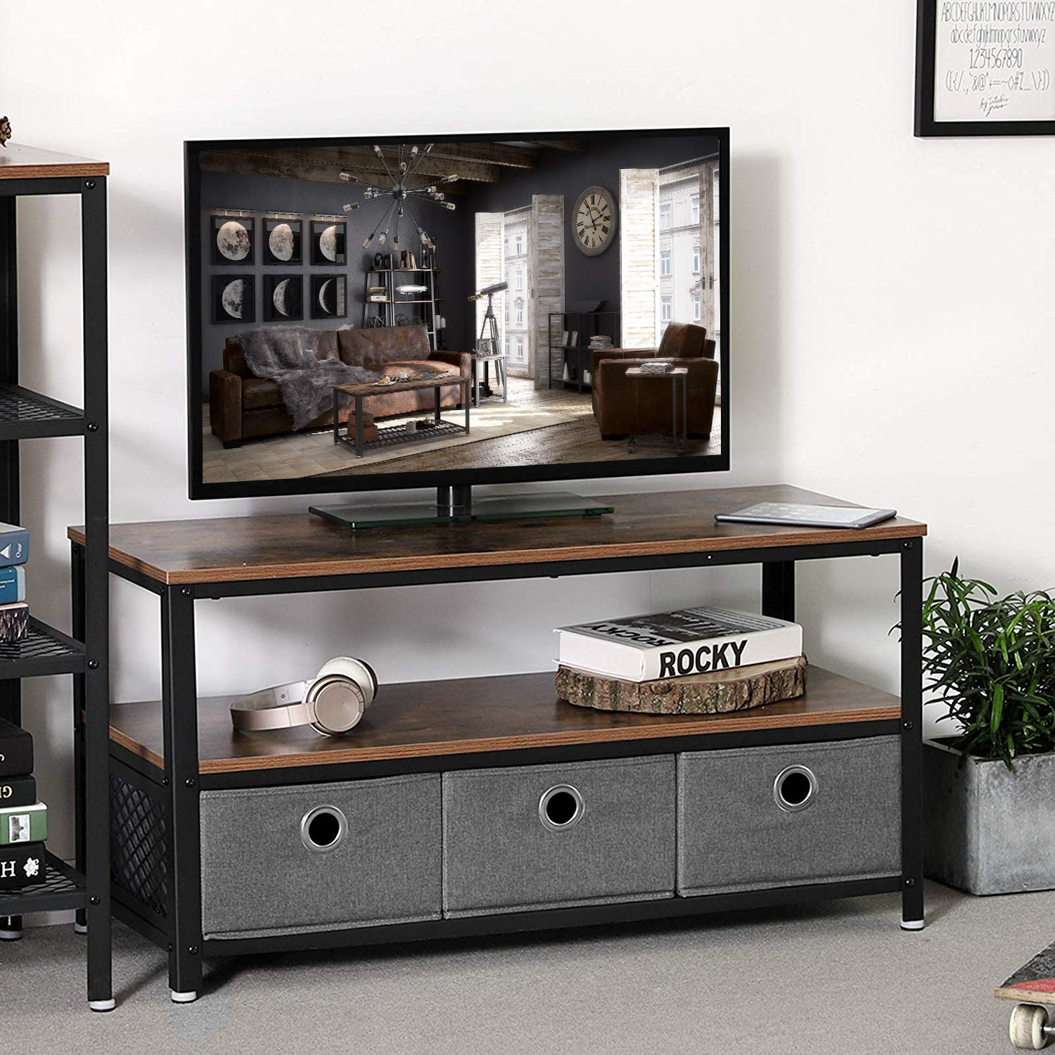 VASAGLE Industrial TV Stand for TVs up to 43 , Storage Console with Metal Shelf, Easy Assembly and Sturdy Design, Adjustable Feet ULTV40BX