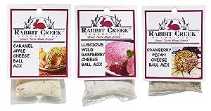Rabbit Creek Dessert Cheeseball Mix Variety Pack of 3 – Caramel Apple, Wild Raspberry, and Cranberry Pecan Cheeseball and Appetizer Mix