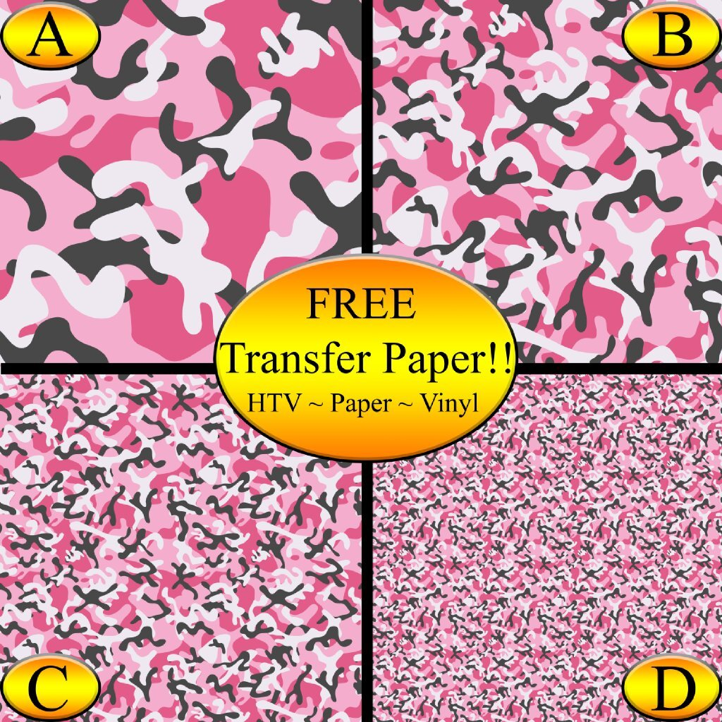 Pink Camo Pattern Printed Heat Transfer Vinyl (Style C - 12 x 24) American Sign Letters