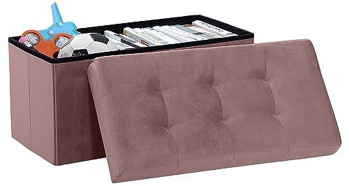 Ornavo Home Foldable Tufted Velvet Large Storage Ottoman Bench Foot Rest Stool Seat – 15 x 30 x 15 Blush Velvet
