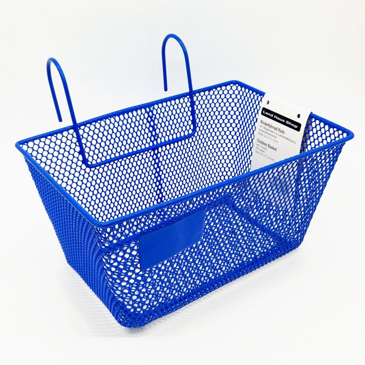 Land-Haus-Shop - Cesta para bicicleta infantil (metal), color azul ...