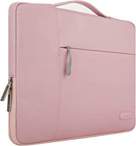 MOSISO Laptop Sleeve Compatible with 17-17.3 inch MacBook Pro/Dell Inspiron/HP Pavilion/Lenovo ideapad/Acer/Alienware/HP Omen, Polyester Multifunctional Briefcase Carrying Bag, Pink