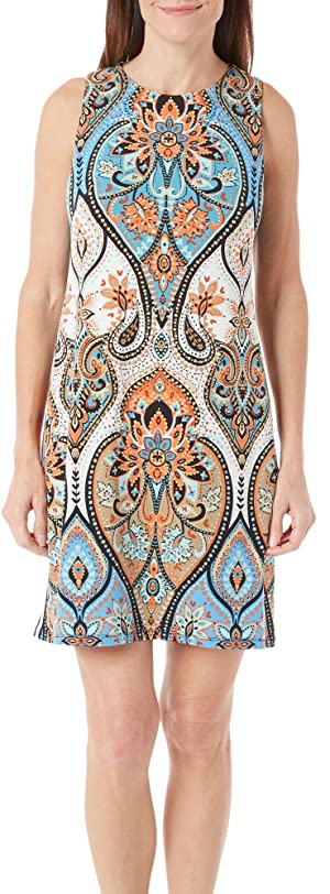 London Times Women's Star Paisley Sleeveless Shift Blue Multi Dress