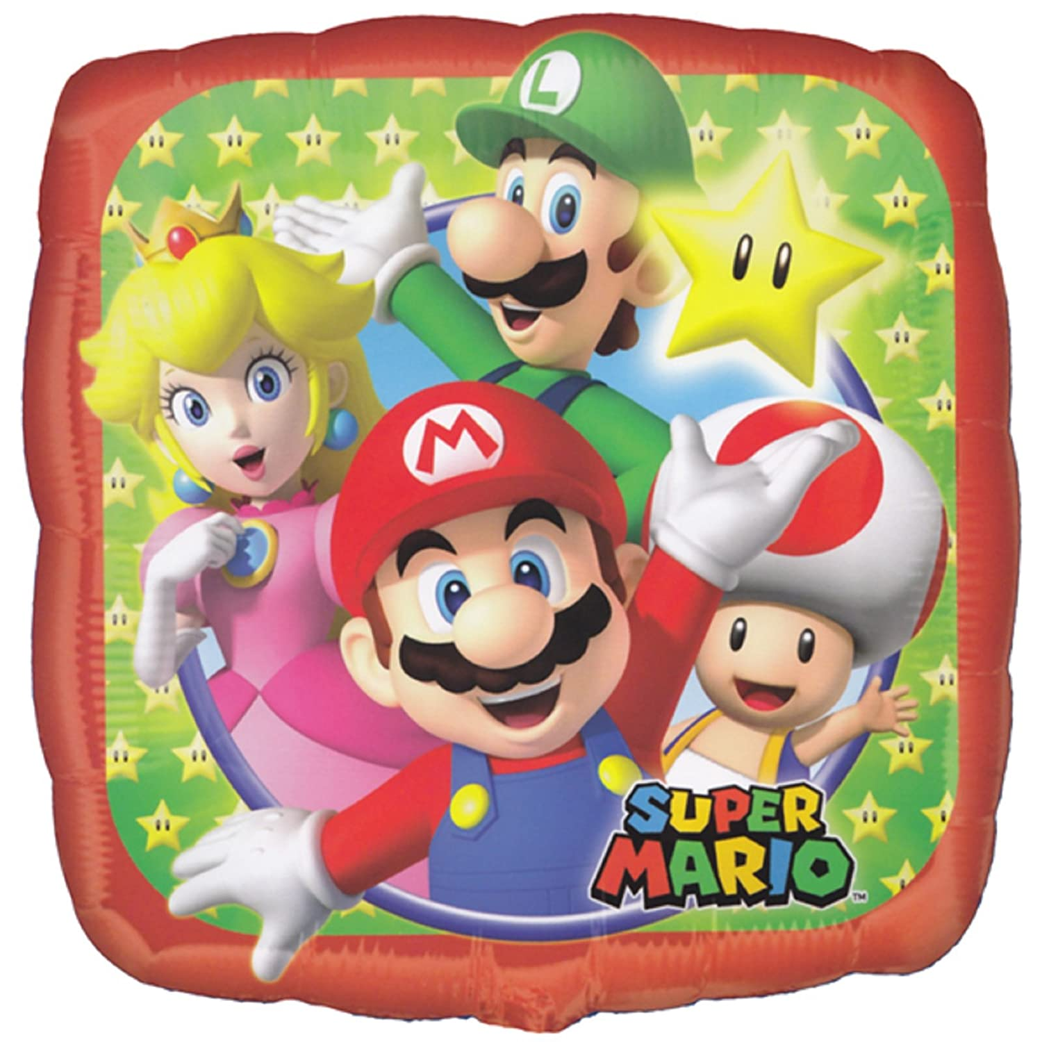 Amazon.com: Super Mario Bros forma cuadrada globo 17 ...