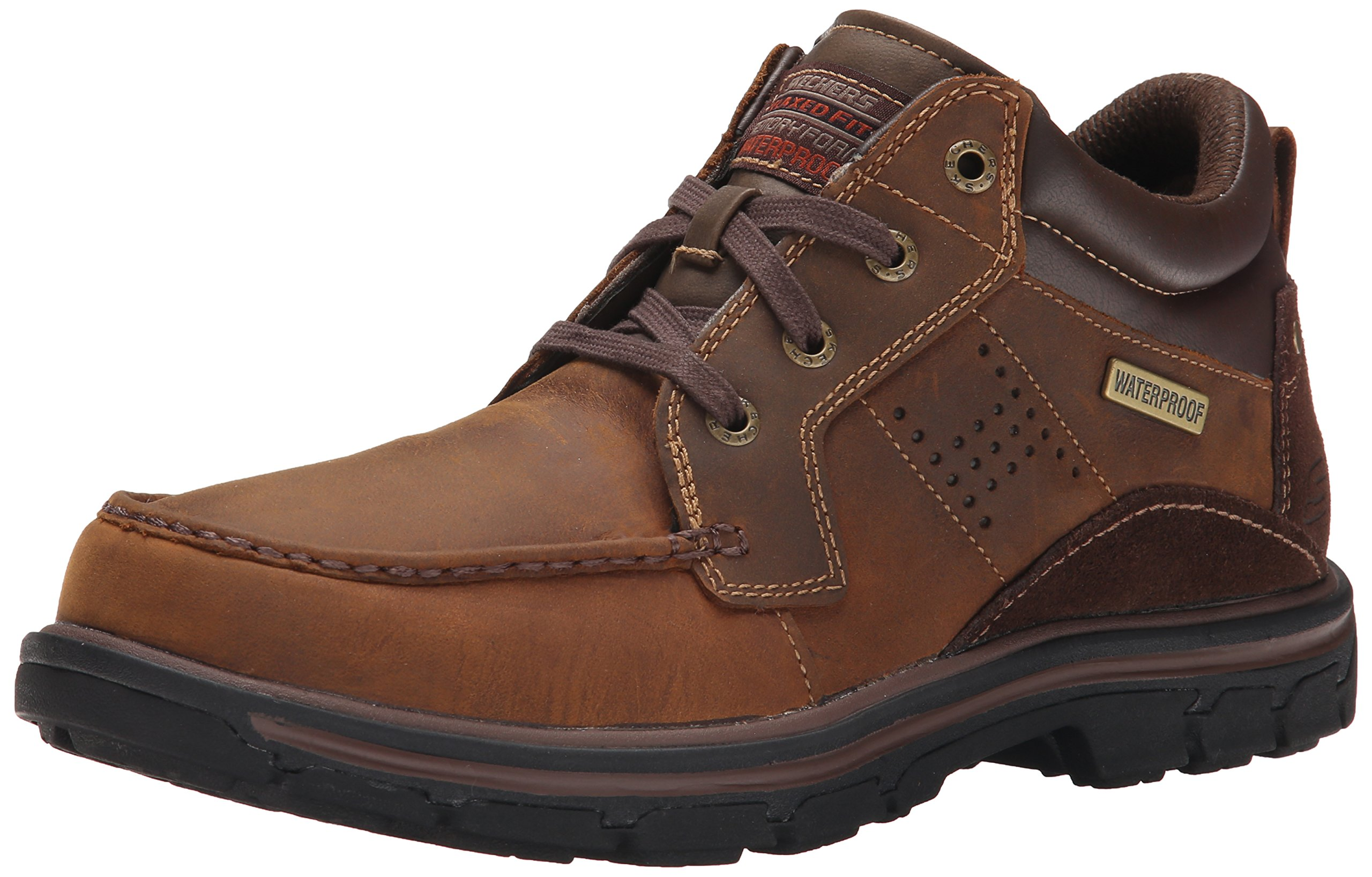 Skechers USA Men's Segment Melego Ankle Bootie,Dark Brown,10 2W US