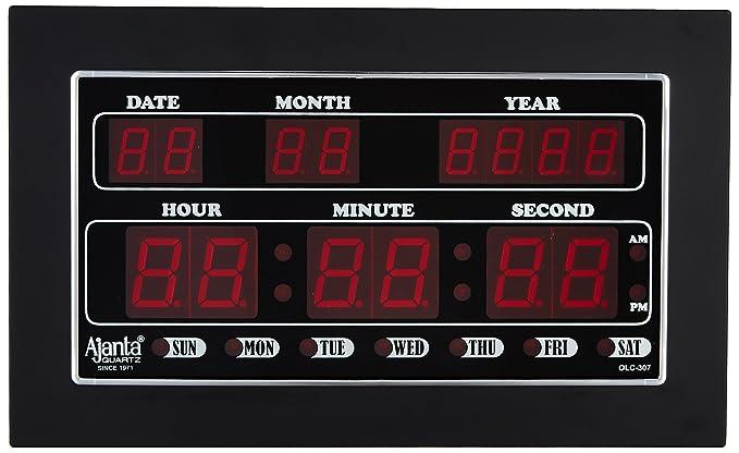 Buy Ajanta Quartz Digital LED Plastic Wall Clock 34 cm x 20 cm x 4