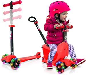 3 Wheeled Scooter for Kids - Child/Toddlers Toy Kick Scooters w/ Storage Box Seat, Safety Push-Bar Handle, Adjustable Height, Flashing Wheel Lights, For Boys/Girls 1-5 Year Old - Hurtle HUKS93R
