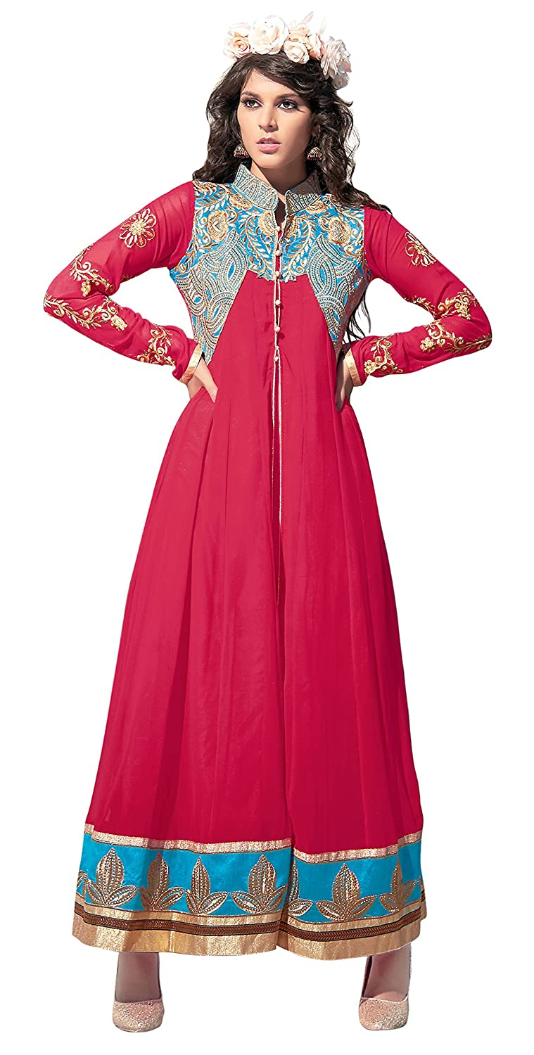 Khushali Presents Georgette Multi Embroidered Semi-Stitched Gown(Pink,Sky Blue)