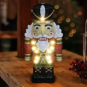 Exhart Nutcracker Soldier w/LED Lights – Christmas Nutcracker w/Red & Green Soldier Uniform – Indoor/Outdoor Hand Painted, Durable, Weather-Resistant Resin Christmas Decor, 6.5