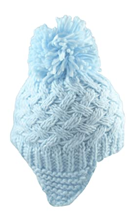 Pesci Baby Boys Beanie Bobble Hat with Ear Flaps (3-6 Months 294132de97d